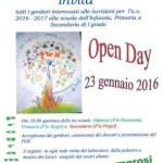 locandina dell'open day 23 gennaio 2016 presso le scuole dell'infanzia, primaria e secondaria di primo grado